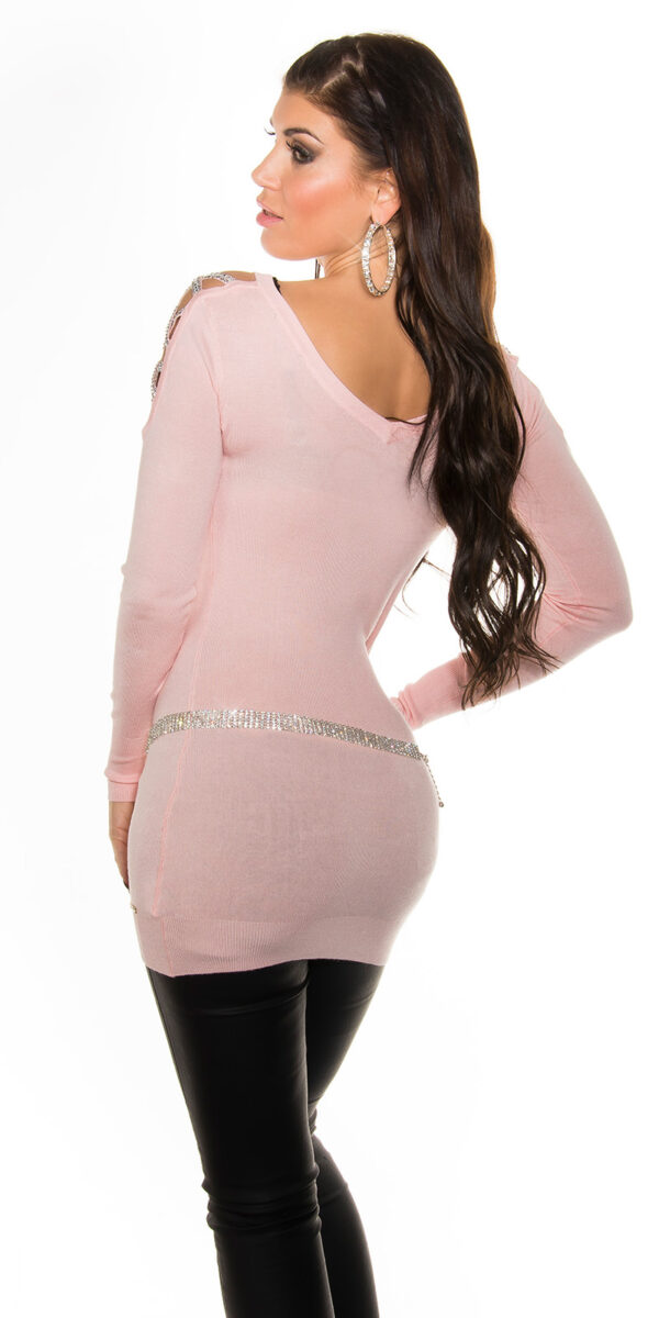 ooKouCla_long_sweater_w_rhinestone_at_shoulder__Color_PINK_Size_Onesize_0000ISF8218_ROSA_33
