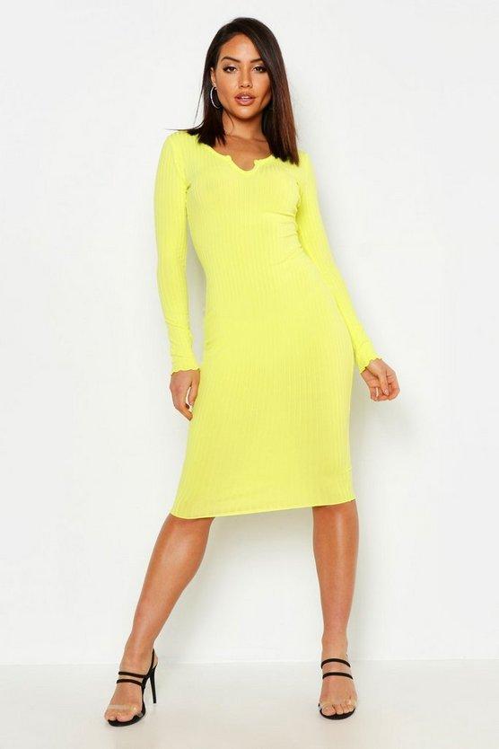 womens-yellow-notch-neck-lettuce-hem-rib-midi-dress