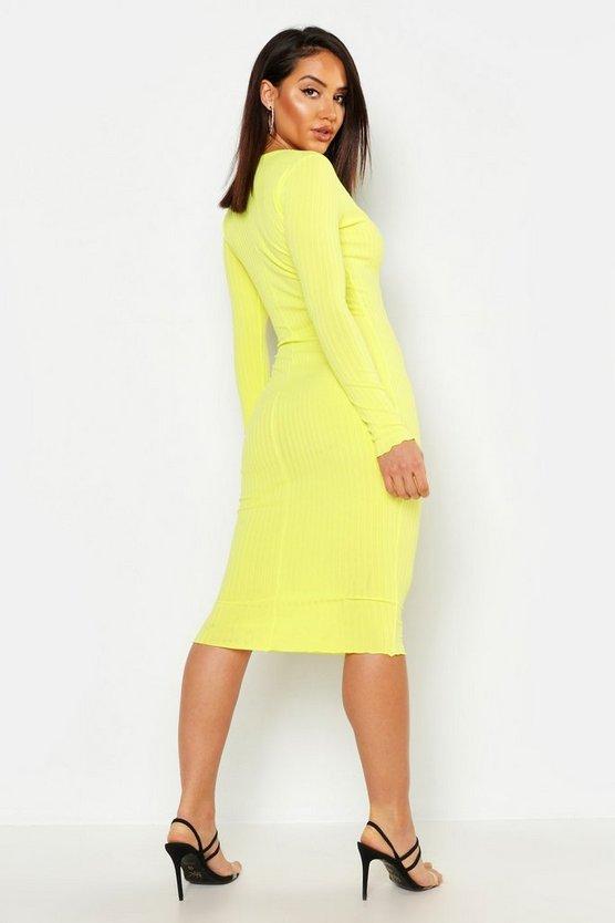 womens-yellow-notch-neck-lettuce-hem-rib-midi-dress1