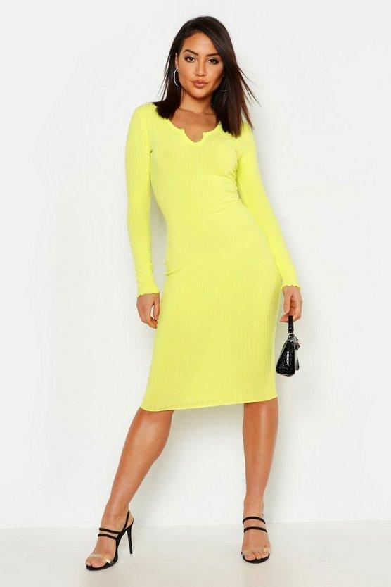 womens-yellow-notch-neck-lettuce-hem-rib-midi-dress3