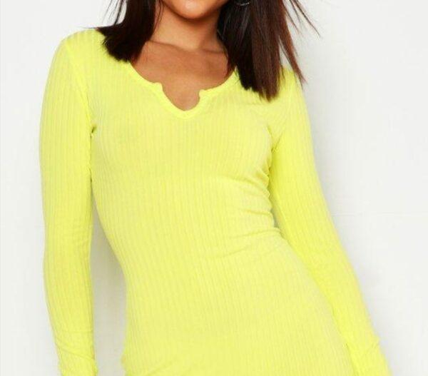 womens-yellow-notch-neck-lettuce-hem-rib-midi-dress4