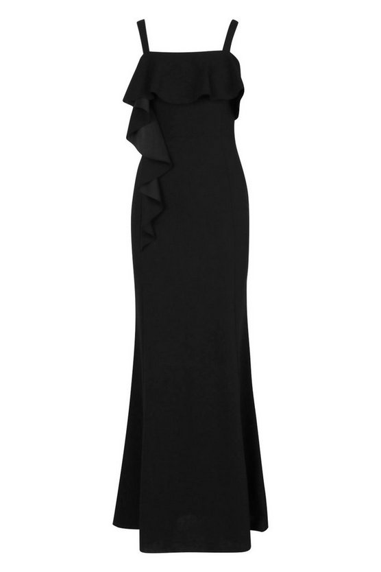 womens-black-square-neck-ruffle-front-maxi-dress2