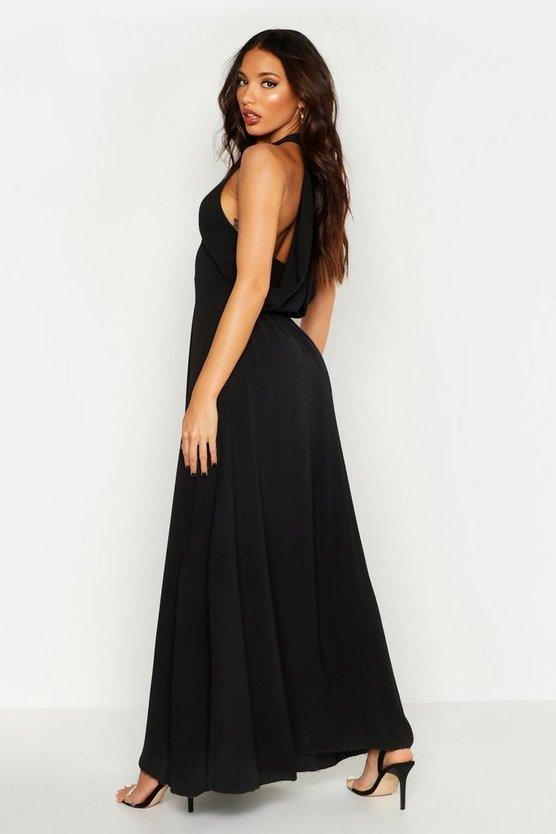 womens-black-woven-v-neck-cowl-back-maxi-dress