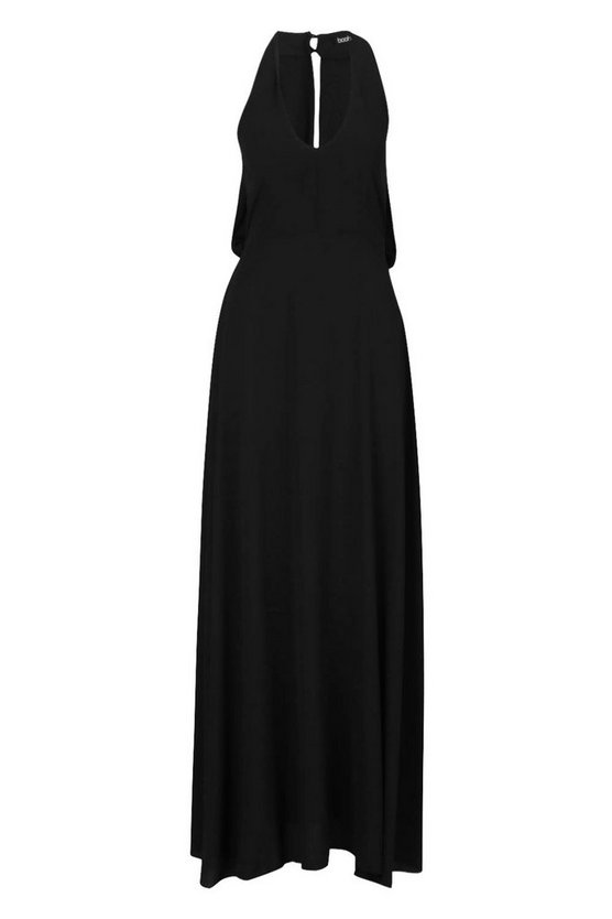 womens-black-woven-v-neck-cowl-back-maxi-dress2