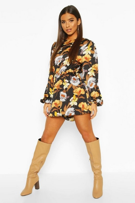 black-large-floral-balloon-sleeve-playsuit