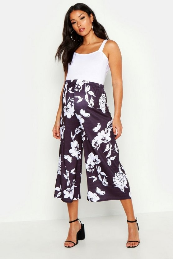 black-maternity-floral-culotte