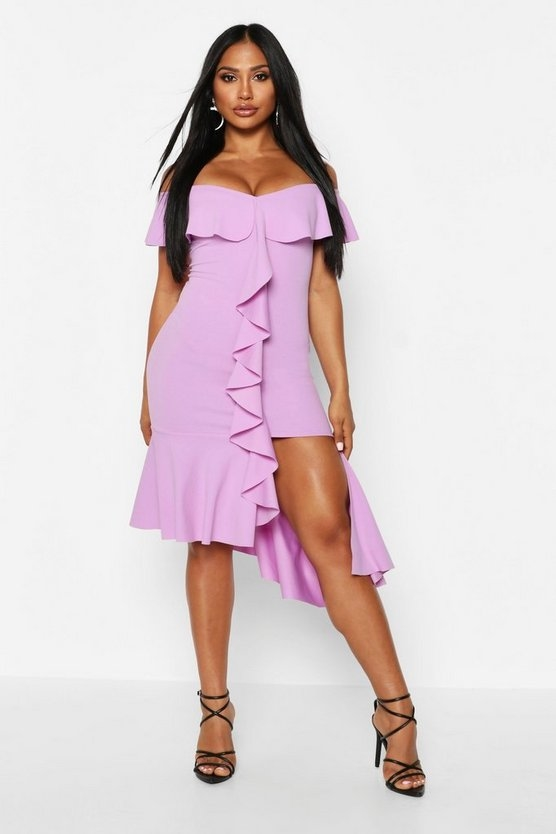 purple-off-the-shoulder-frill-detail-midi-dress