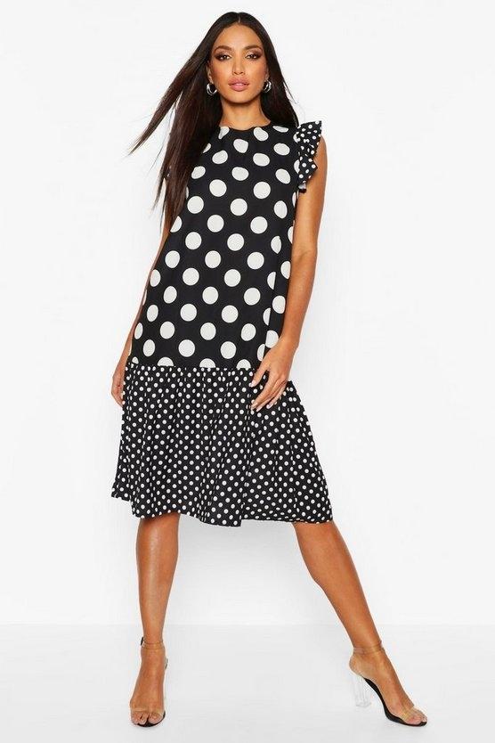 black-polka-dot-drop-hem-midi-dress