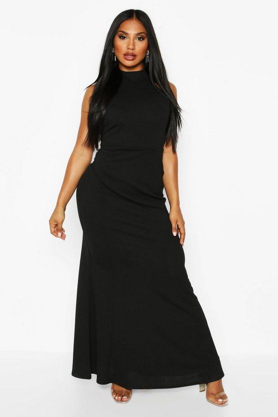 black-high-neck-strappy-back-maxi-dress