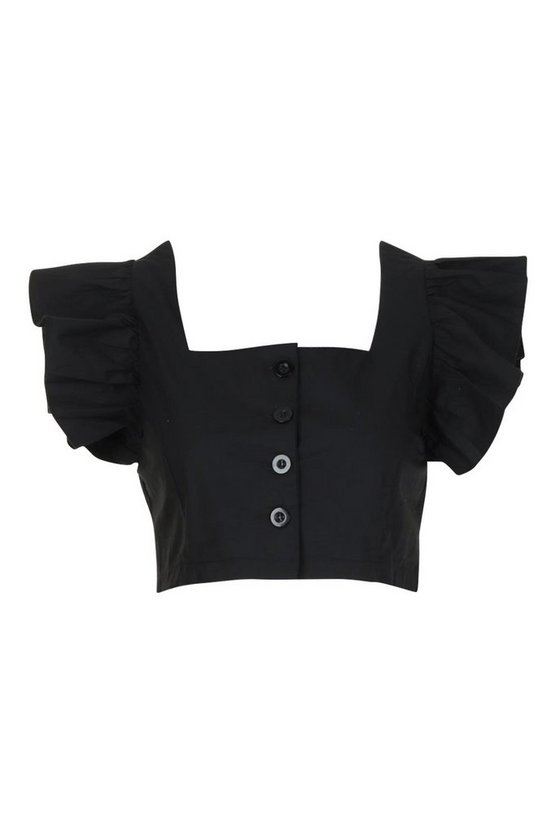 black-petite-button-front-frill-sleeve-woven-top2