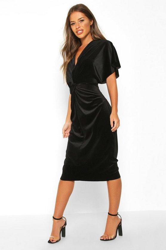 black-petite-velvet-twist-front-midi-dress