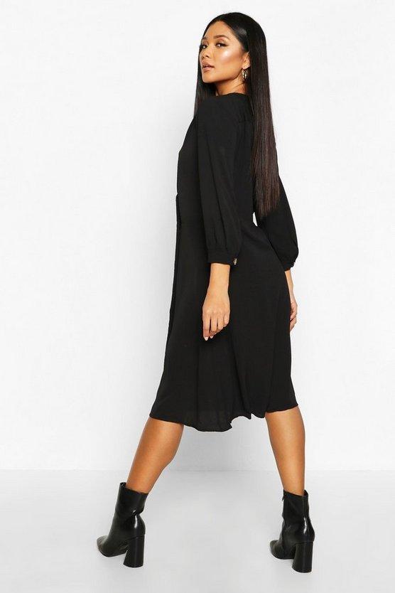 black-woven-button-detail-puff-sleeve-midi-dress1