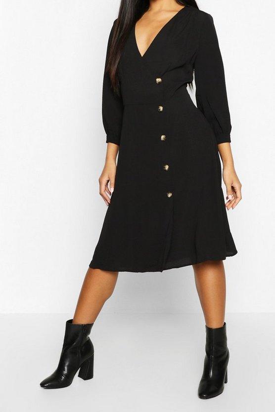 black-woven-button-detail-puff-sleeve-midi-dress2