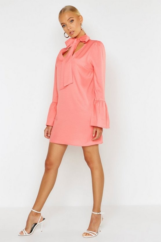 coral-woven-tie-neck-shift-dress