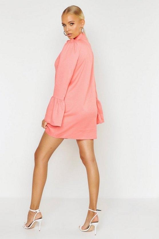 coral-woven-tie-neck-shift-dress1