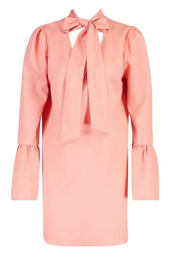 coral-woven-tie-neck-shift-dress2