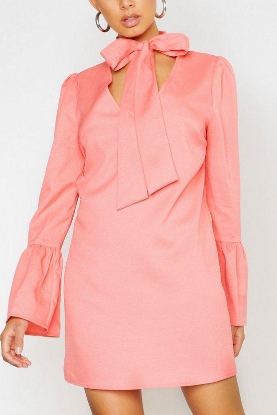 coral-woven-tie-neck-shift-dress3
