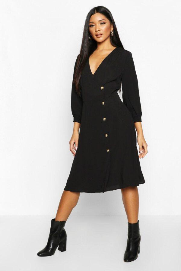 womens-black-woven-button-detail-puff-sleeve-midi-dress