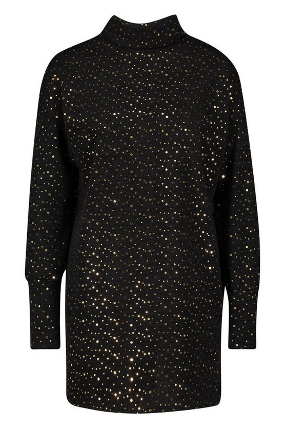 black-roll-neck-balloon-sleeve-foil-spot-sweatshirt-dress2