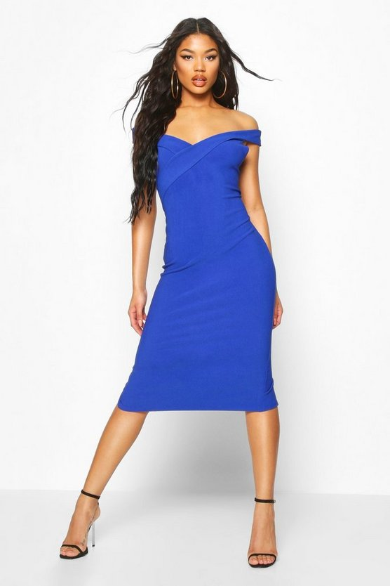 cobalt-bandage-rib-bardot-midi-dress