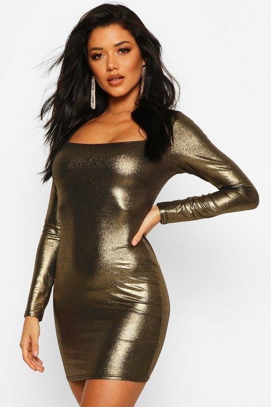 gold-long-sleeve-square-bodycon-mini-dress