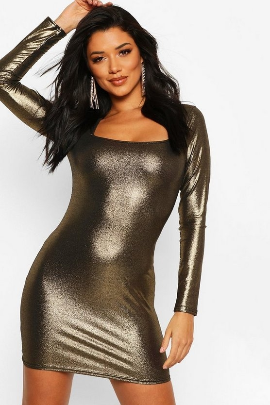 gold-long-sleeve-square-bodycon-mini-dress3