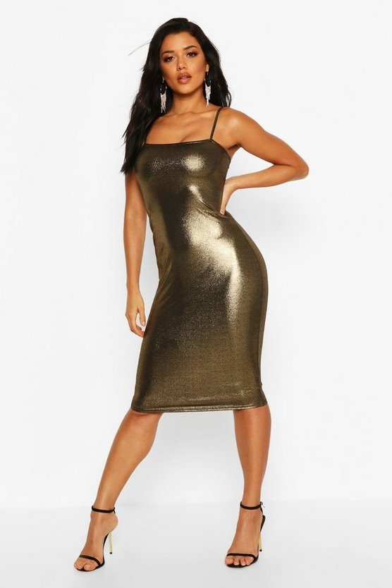 gold-metalliic-square-neck-strappy-midi-dress