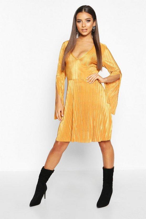 mustard-plisse-pleated-v-neck-frill-hem-skater-dress