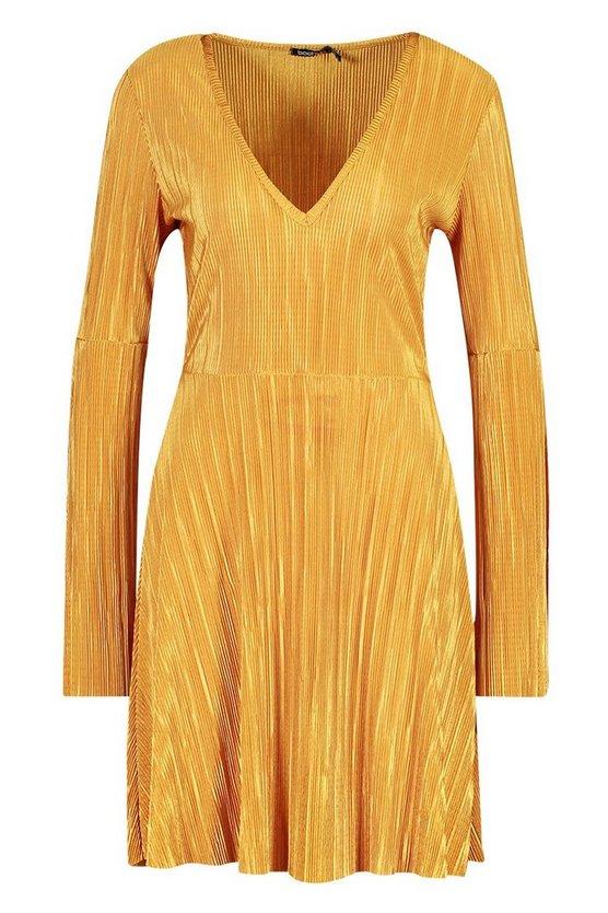 mustard-plisse-pleated-v-neck-frill-hem-skater-dress2