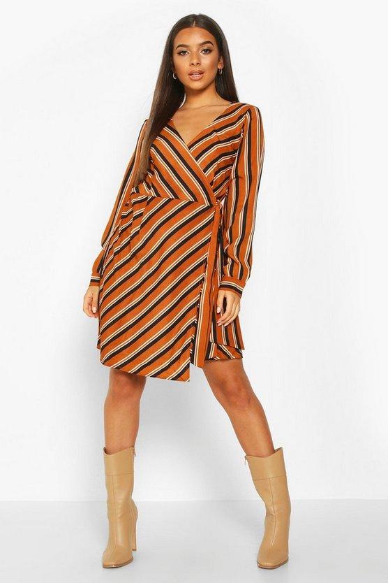 mustard-woven-stripe-wrap-mini-dress