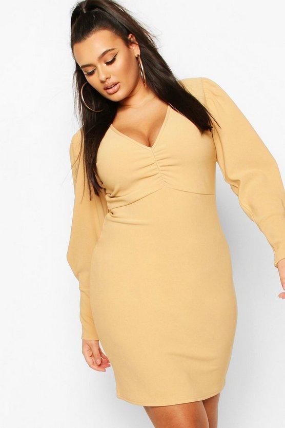 stone-plus-bandage-rib-plunge-puff-sleeve-mini-dress3
