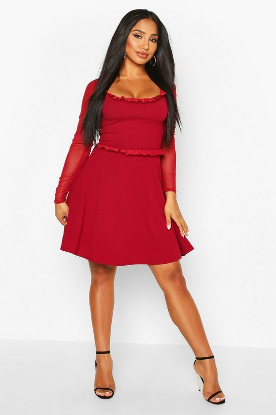 wine-mesh-sleeve-skater-dress