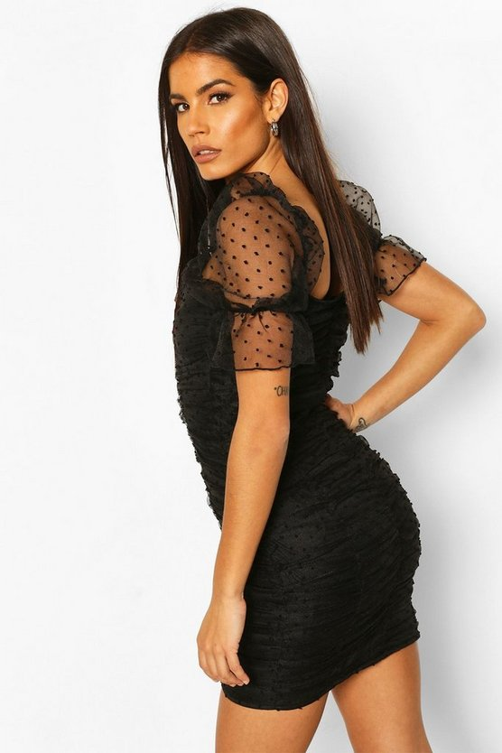 soft-pink-black-dobby-mesh-rouche-detail-mini-dress (1)