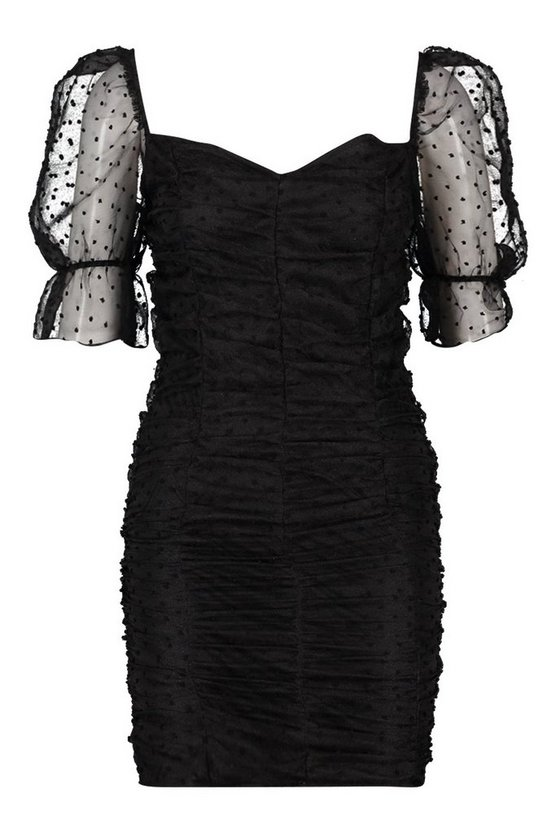 soft-pink-black-dobby-mesh-rouche-detail-mini-dress (2)