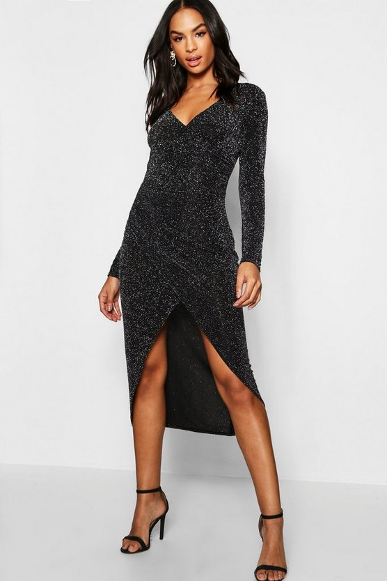 black-tall-shimmer-wrap-bodycon-midi-dress