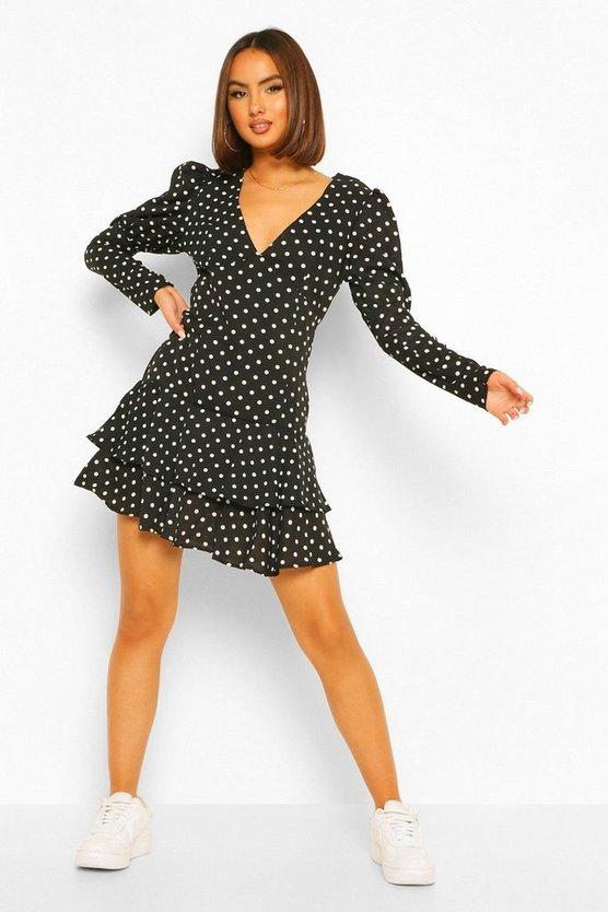 black-polka-dot-puff-sleeve-tiered-hem-mini-dress2
