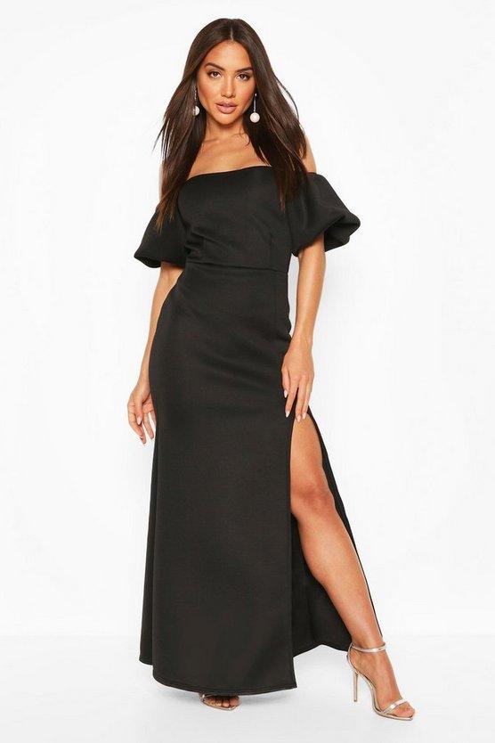 black-puff-ball-sleeve-fishtail-maxi-dress