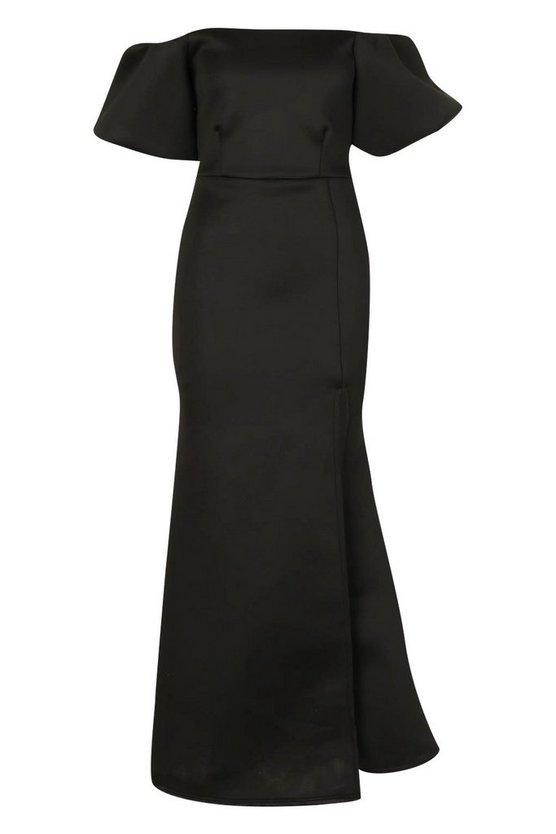 black-puff-ball-sleeve-fishtail-maxi-dress2