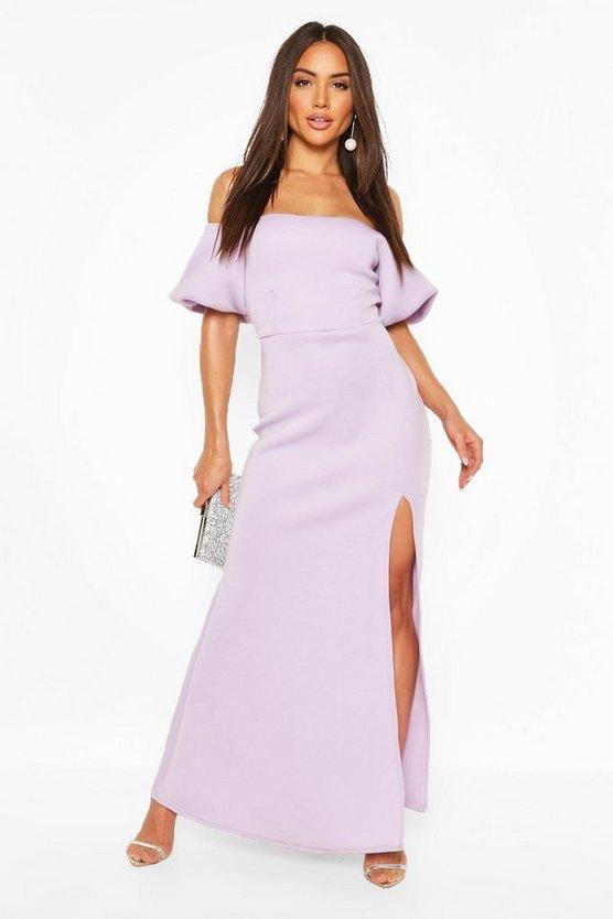 black-puff-ball-sleeve-fishtail-maxi-dress3
