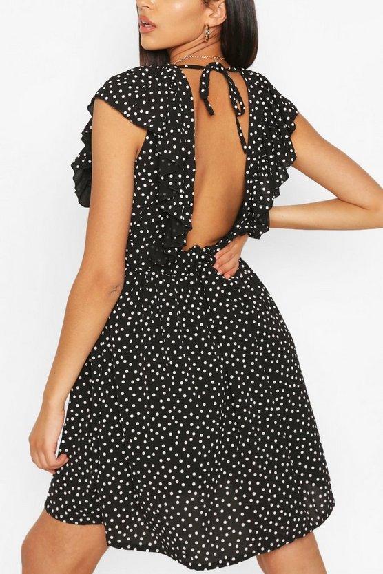 black-tall-woven-polka-dot-print-smock-dress1