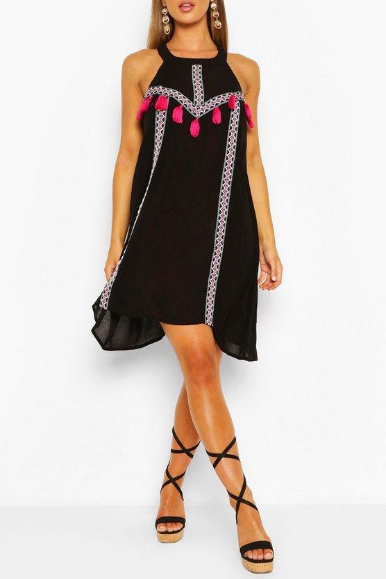 black-tassel-detail-swing-dress