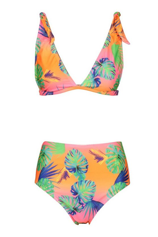 coral-pink-neon-tropical-tie-shoulder-high-waist-bikini (2)